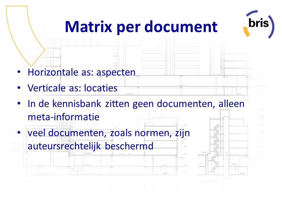Matrix per document Horizontale as: aspecten Verticale as: locaties