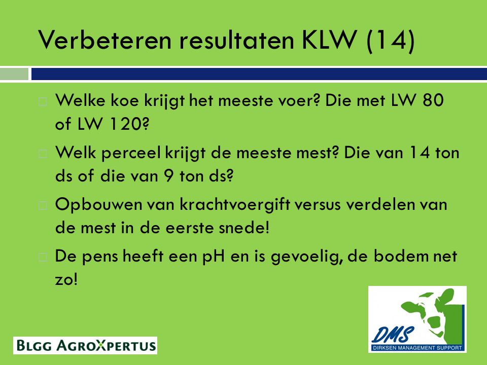 Verbeteren resultaten KLW (14)