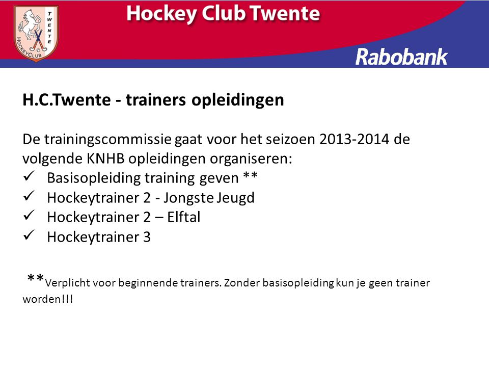 H.C.Twente - trainers opleidingen