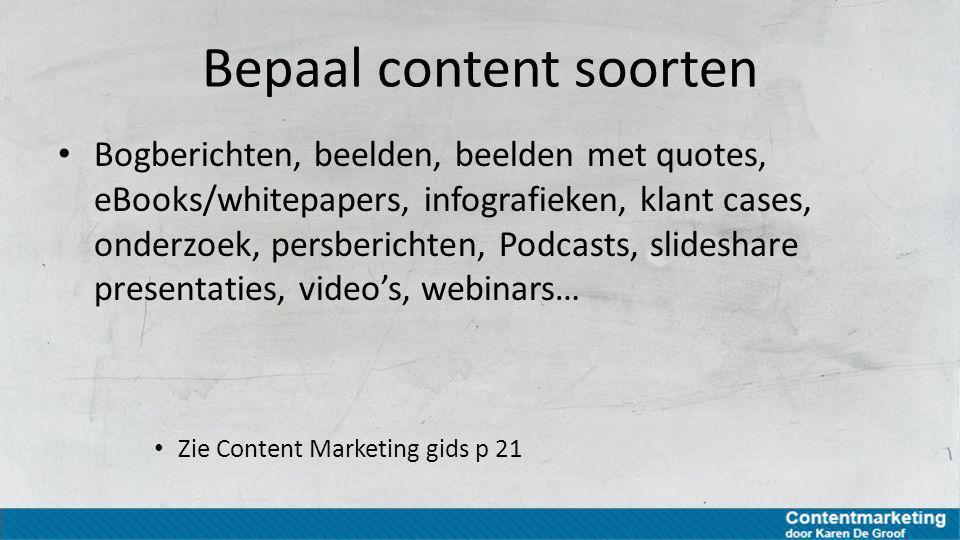 Bepaal content soorten