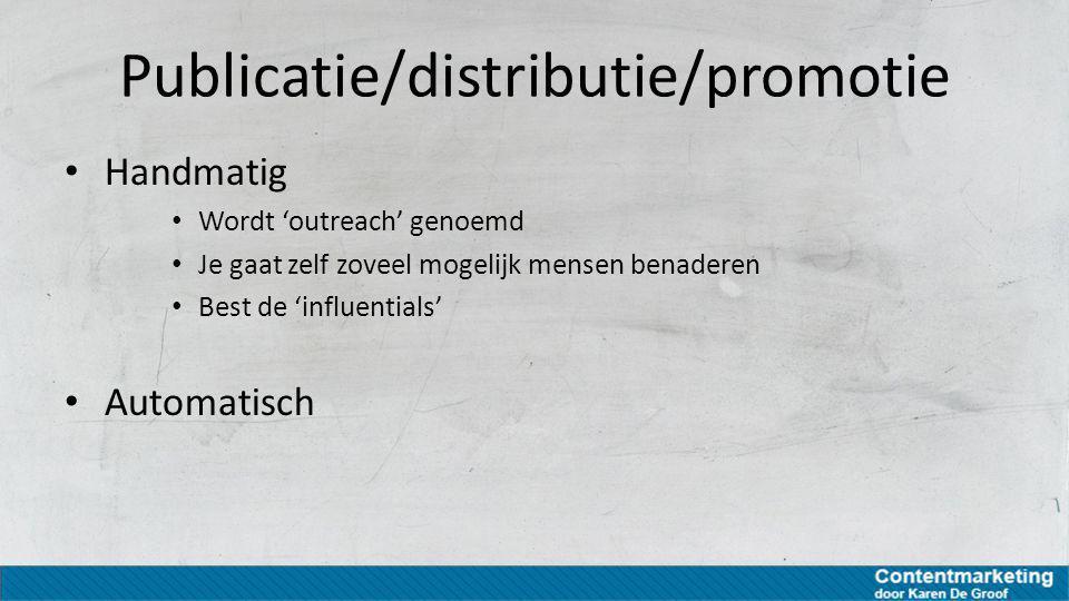 Publicatie/distributie/promotie