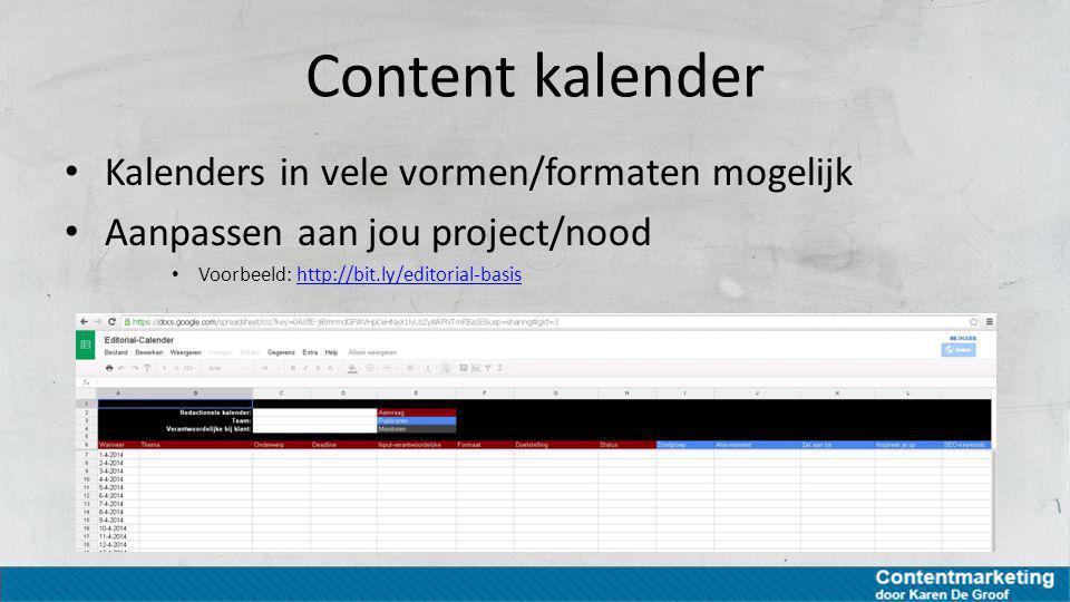 Content kalender Kalenders in vele vormen/formaten mogelijk