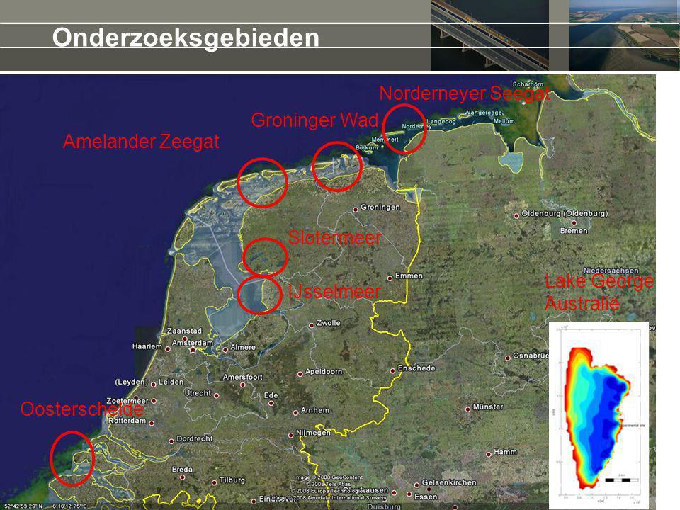 Onderzoeksgebieden Norderneyer Seegat Groninger Wad Amelander Zeegat