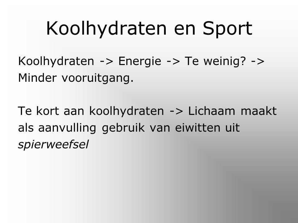 Koolhydraten en Sport Koolhydraten -> Energie -> Te weinig -> Minder vooruitgang. Te kort aan koolhydraten -> Lichaam maakt.