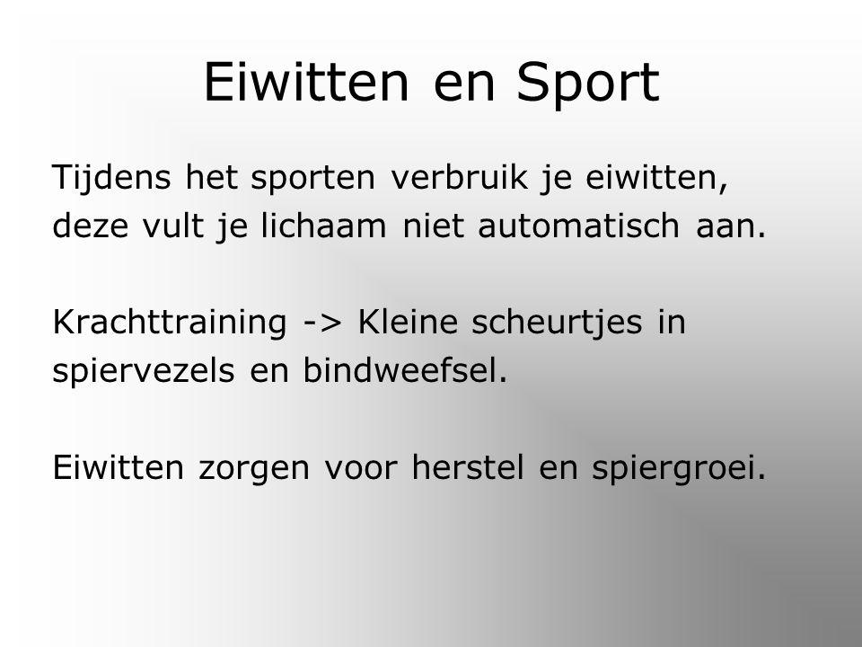 Eiwitten en Sport Tijdens het sporten verbruik je eiwitten,