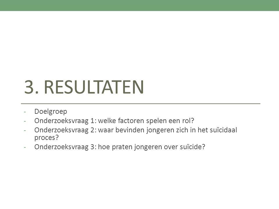 3. Resultaten Doelgroep. Onderzoeksvraag 1: welke factoren spelen een rol Onderzoeksvraag 2: waar bevinden jongeren zich in het suïcidaal proces