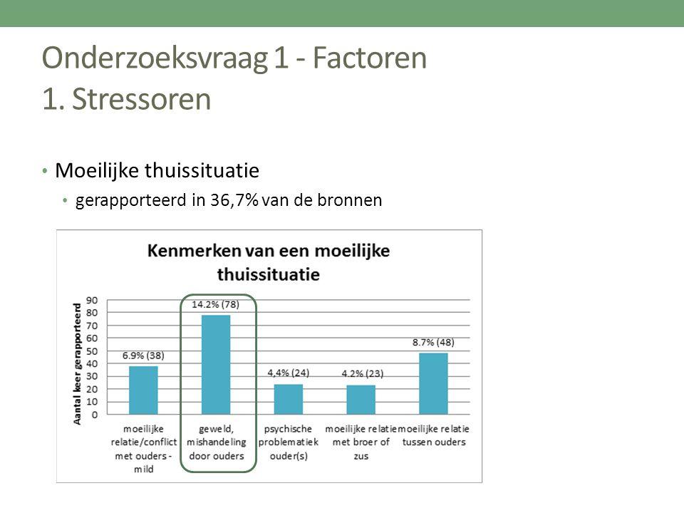 Onderzoeksvraag 1 - Factoren 1. Stressoren