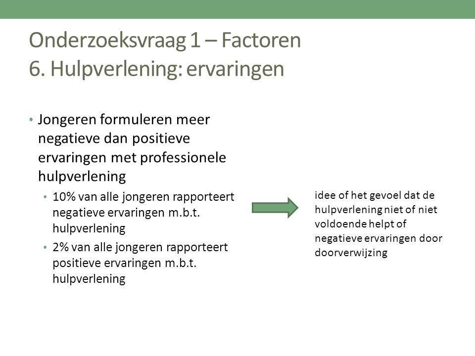 Onderzoeksvraag 1 – Factoren 6. Hulpverlening: ervaringen