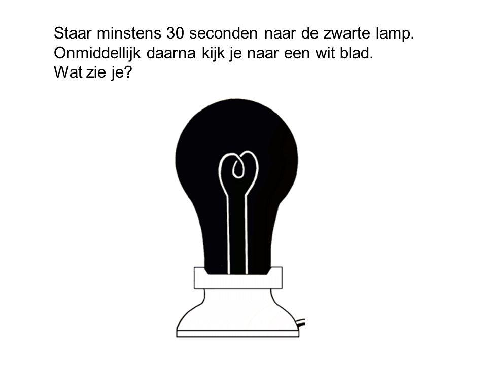 Staar minstens 30 seconden naar de zwarte lamp
