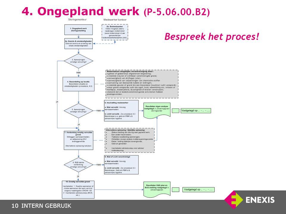 4. Ongepland werk (P-5.06.00.B2) Bespreek het proces!