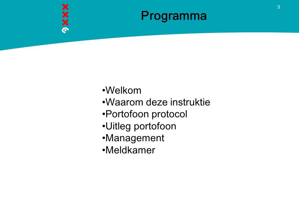 Programma Welkom Waarom deze instruktie Portofoon protocol