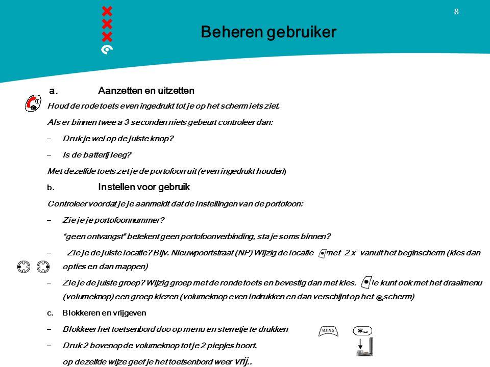 Beheren gebruiker Titel presentatie a. Aanzetten en uitzetten