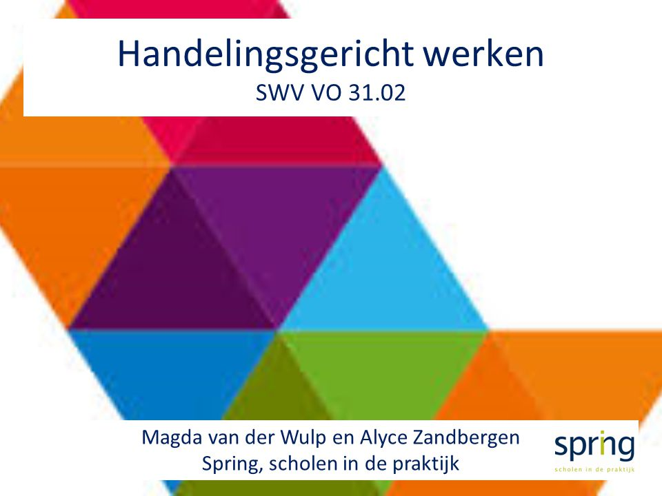 Handelingsgericht werken SWV VO 31.02