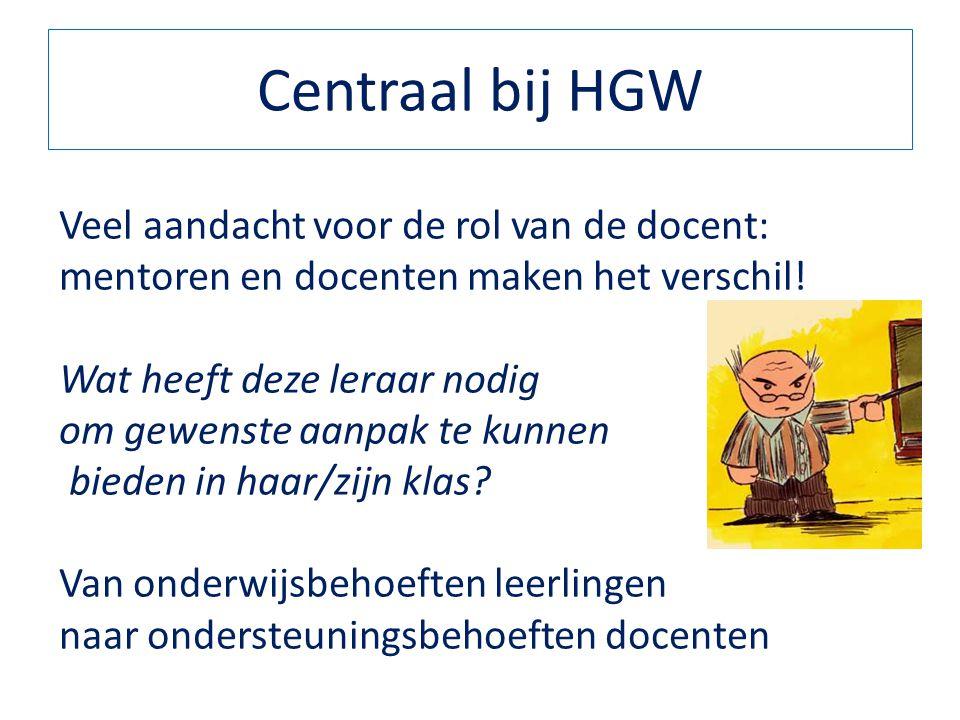 Centraal bij HGW Veel aandacht voor de rol van de docent: