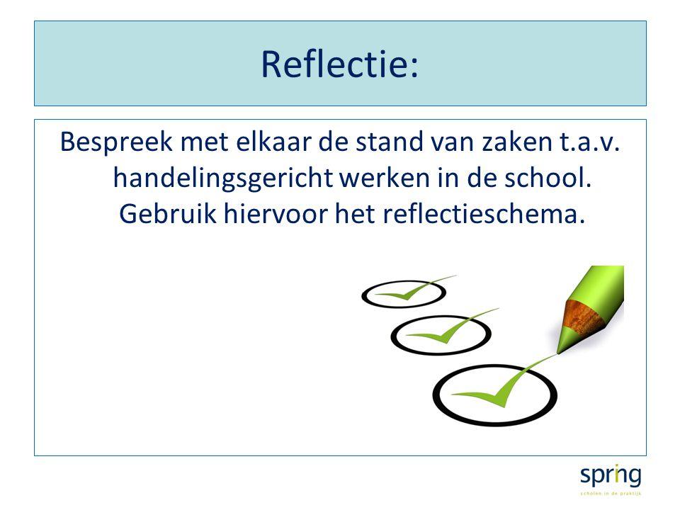 Reflectie: Bespreek met elkaar de stand van zaken t.a.v.