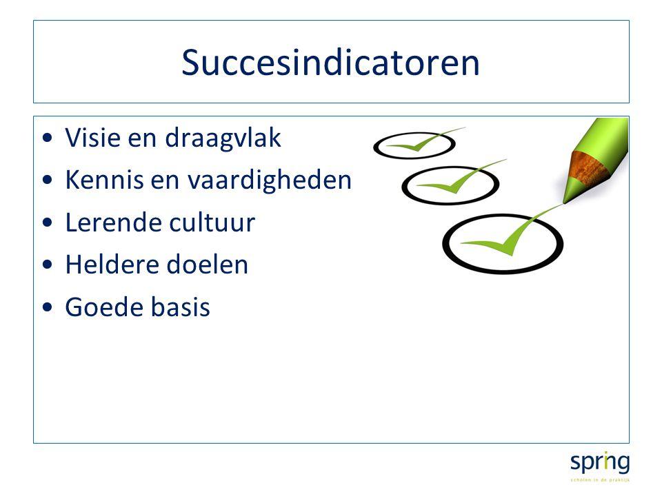 Succesindicatoren Visie en draagvlak Kennis en vaardigheden