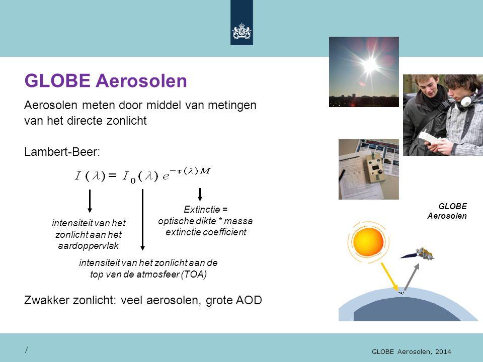 GLOBE Aerosolen Aerosolen meten door middel van metingen