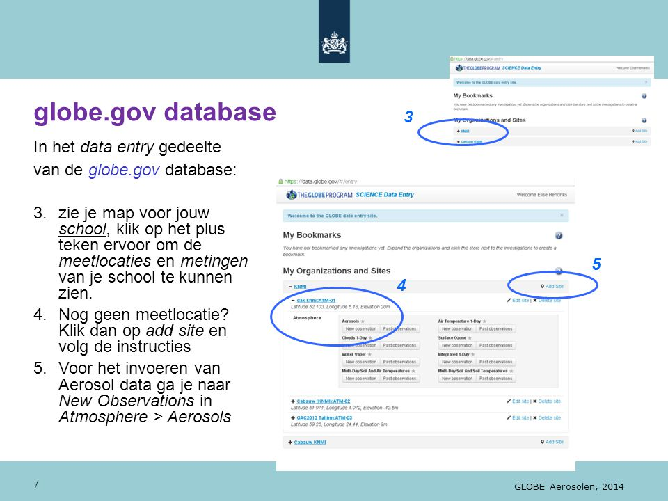 globe.gov database 3 In het data entry gedeelte