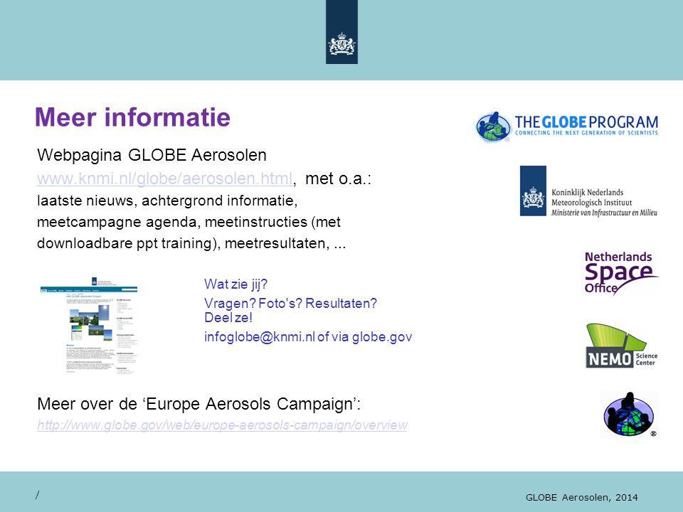 Meer informatie Webpagina GLOBE Aerosolen