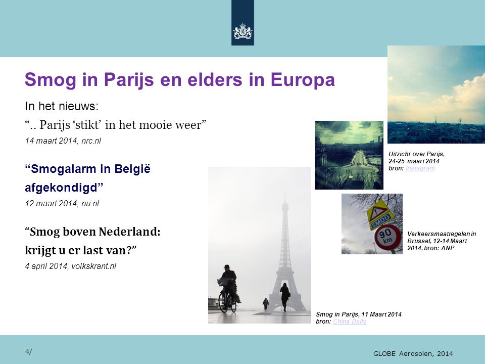 Smog in Parijs en elders in Europa