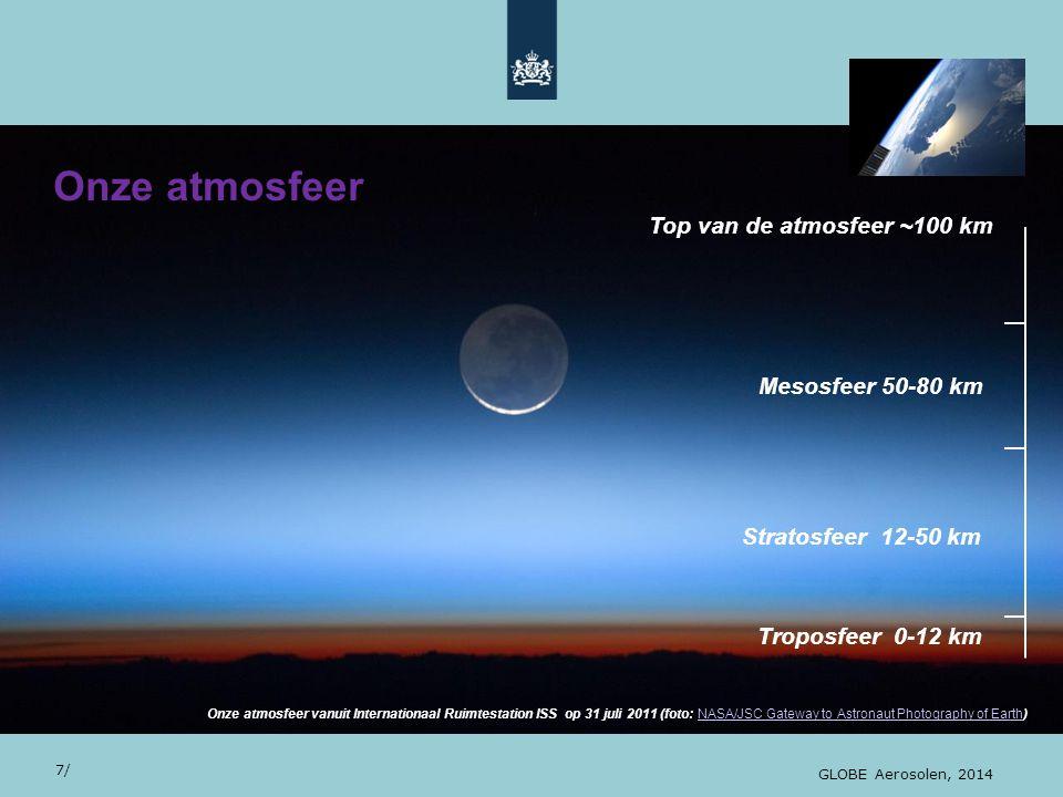 Onze atmosfeer 28/10/13 Top van de atmosfeer ~100 km