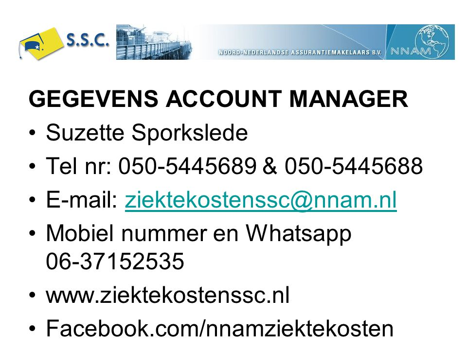 GEGEVENS ACCOUNT MANAGER