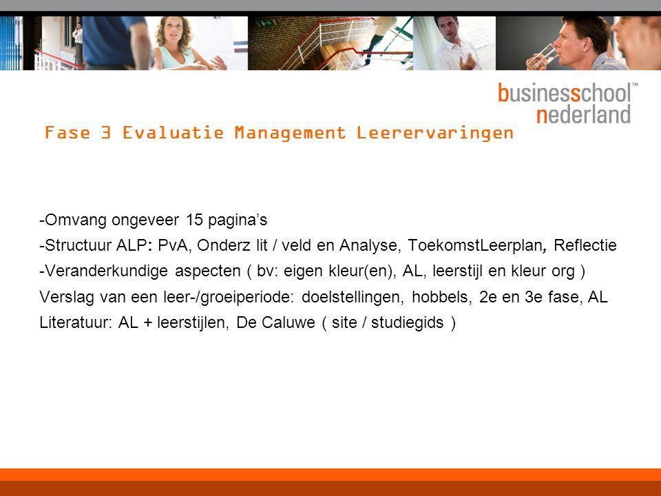 Fase 3 Evaluatie Management Leerervaringen
