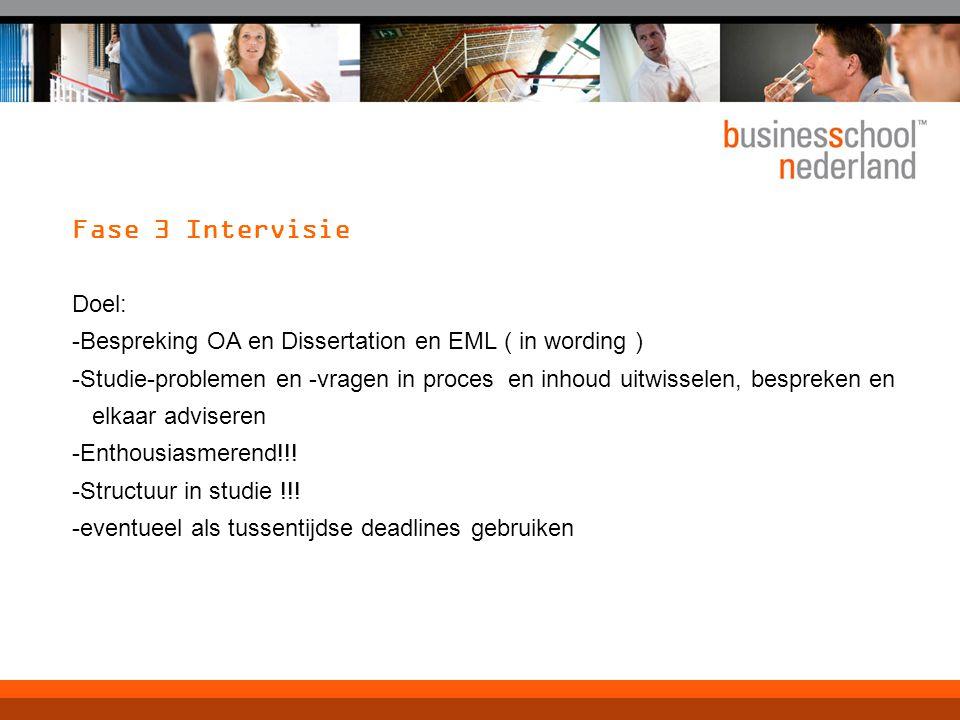 Fase 3 Intervisie Doel: -Bespreking OA en Dissertation en EML ( in wording )