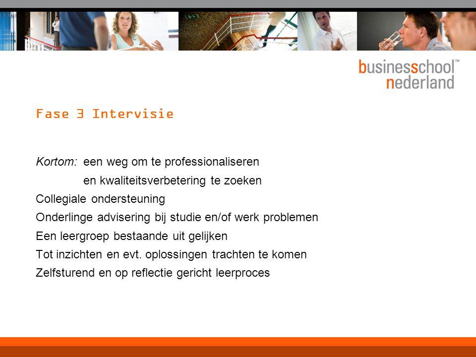 Fase 3 Intervisie Kortom: een weg om te professionaliseren en kwaliteitsverbetering te zoeken. Collegiale ondersteuning.