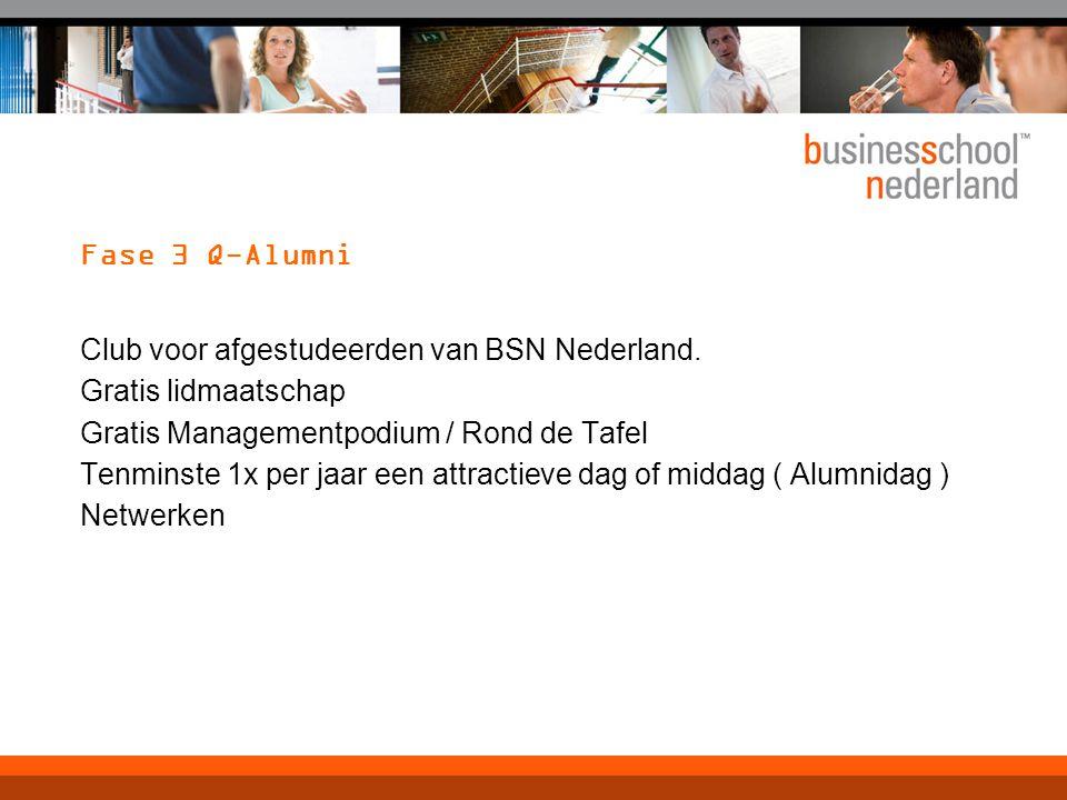 Fase 3 Q-Alumni Club voor afgestudeerden van BSN Nederland. Gratis lidmaatschap. Gratis Managementpodium / Rond de Tafel.