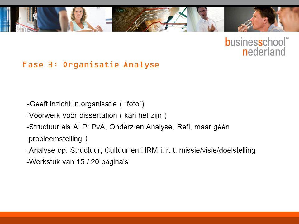 Fase 3: Organisatie Analyse