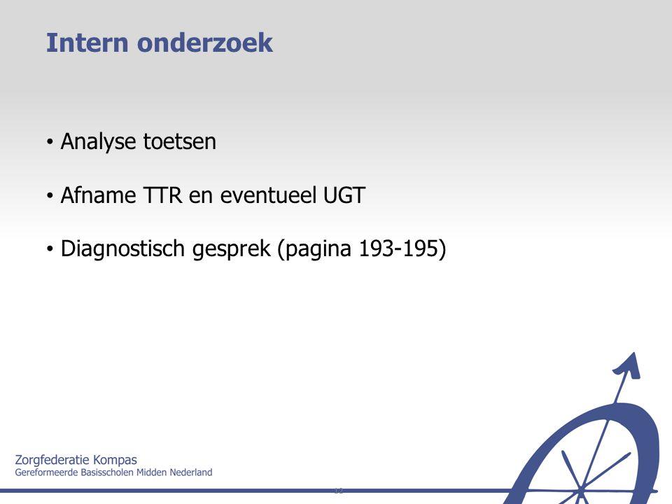 Intern onderzoek Analyse toetsen Afname TTR en eventueel UGT