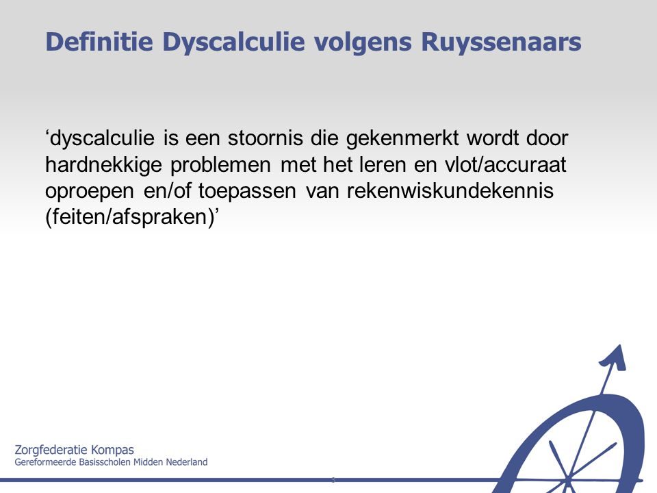 Definitie Dyscalculie volgens Ruyssenaars