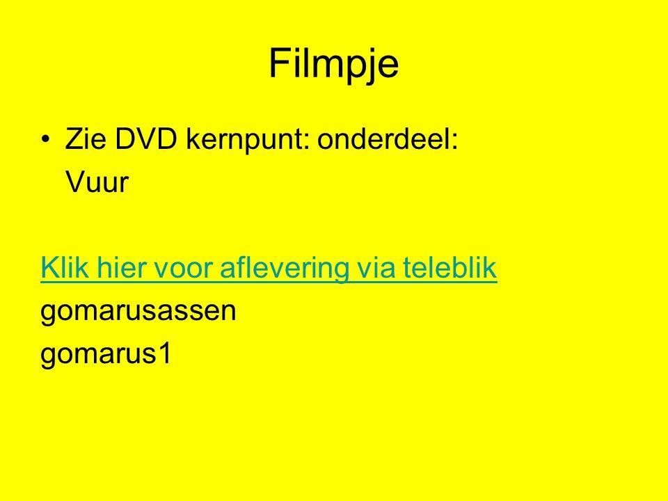 Filmpje Zie DVD kernpunt: onderdeel: Vuur