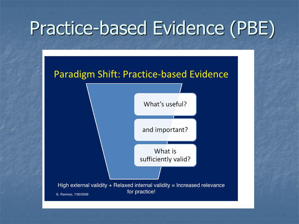 Practice-based Evidence (PBE)