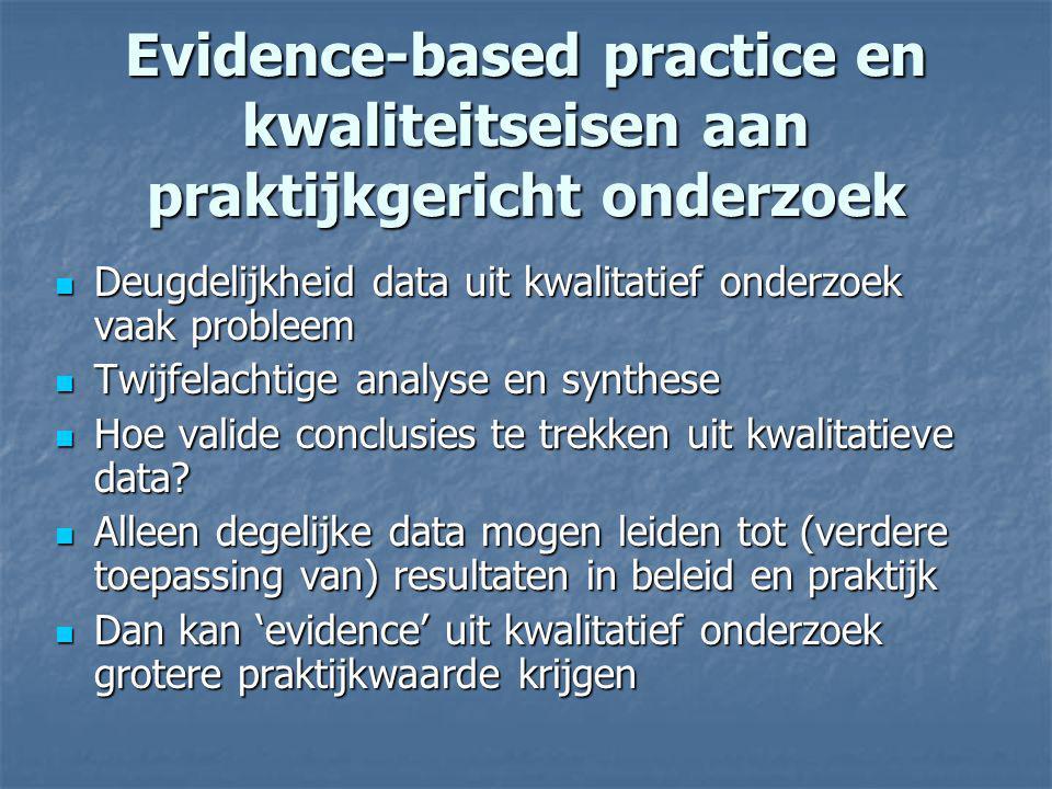 Evidence-based practice en kwaliteitseisen aan praktijkgericht onderzoek