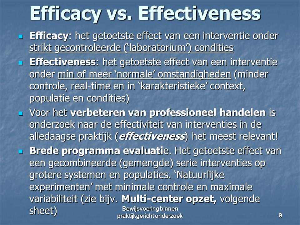 Efficacy vs. Effectiveness