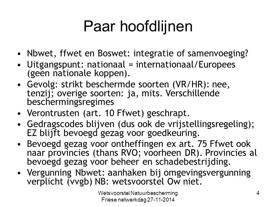Wetsvoorstel Natuurbescherming Friese netwerkdag 27-11-2014