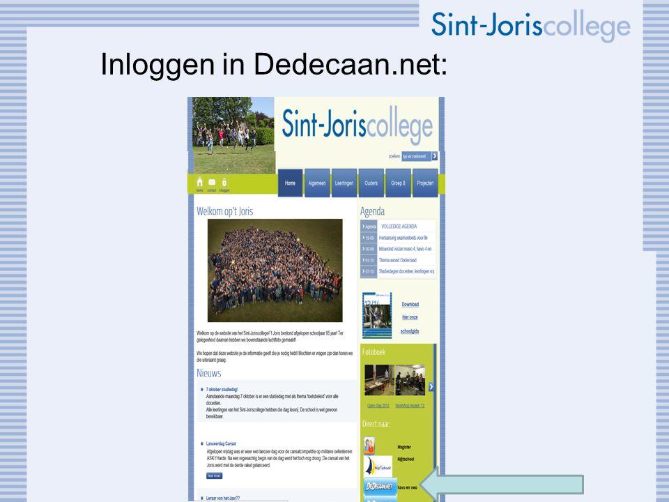 Inloggen in Dedecaan.net: