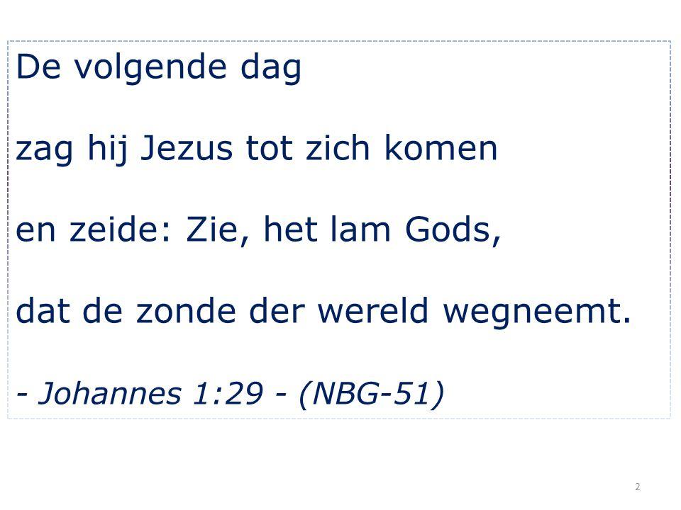 zag hij Jezus tot zich komen en zeide: Zie, het lam Gods,