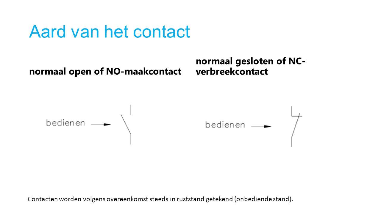 Aard van het contact normaal open of NO-maakcontact. normaal gesloten of NC- verbreekcontact.