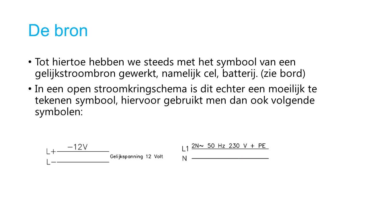 De bron Tot hiertoe hebben we steeds met het symbool van een gelijkstroombron gewerkt, namelijk cel, batterij. (zie bord)