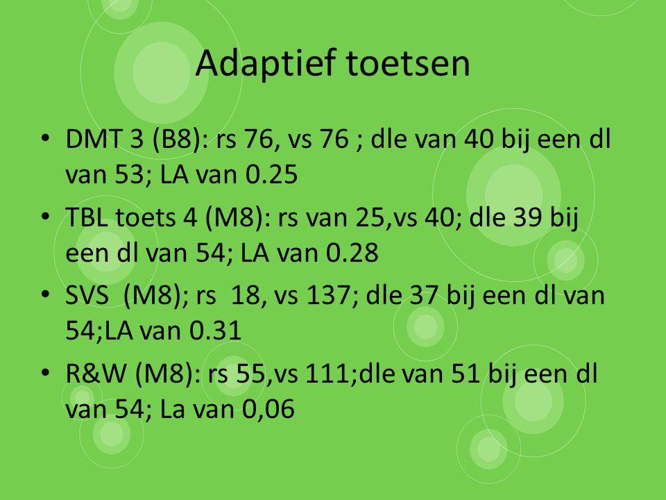 Adaptief toetsen DMT 3 (B8): rs 76, vs 76 ; dle van 40 bij een dl van 53; LA van 0.25.
