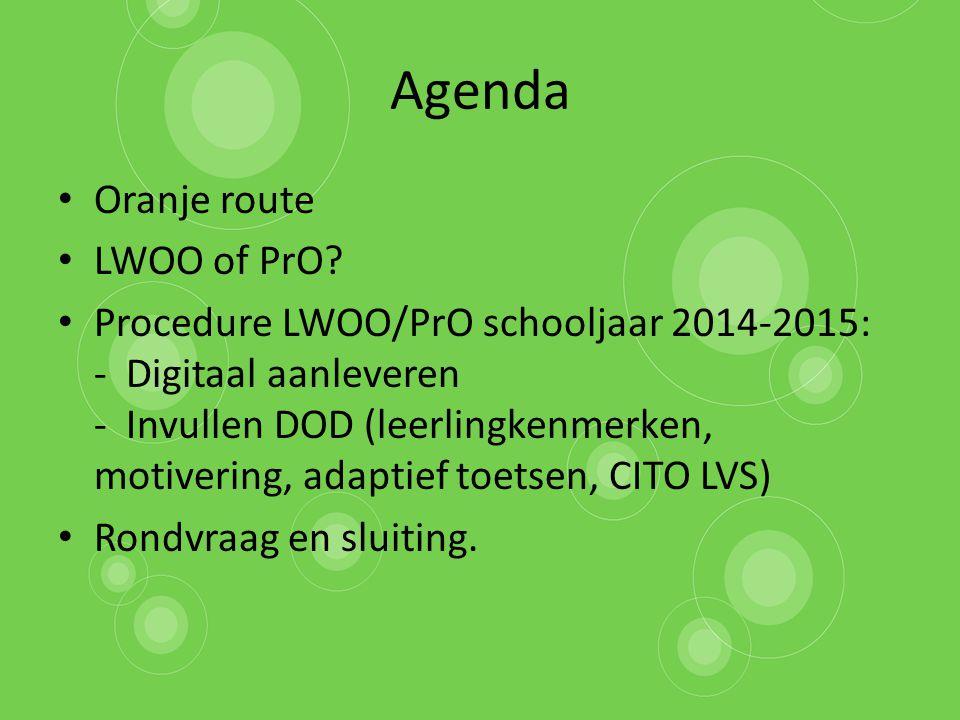 Agenda Oranje route LWOO of PrO