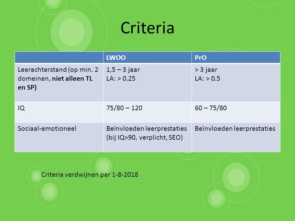 Criteria LWOO. PrO. Leerachterstand (op min. 2 domeinen, niet alleen TL en SP) 1,5 – 3 jaar. LA: > 0.25.