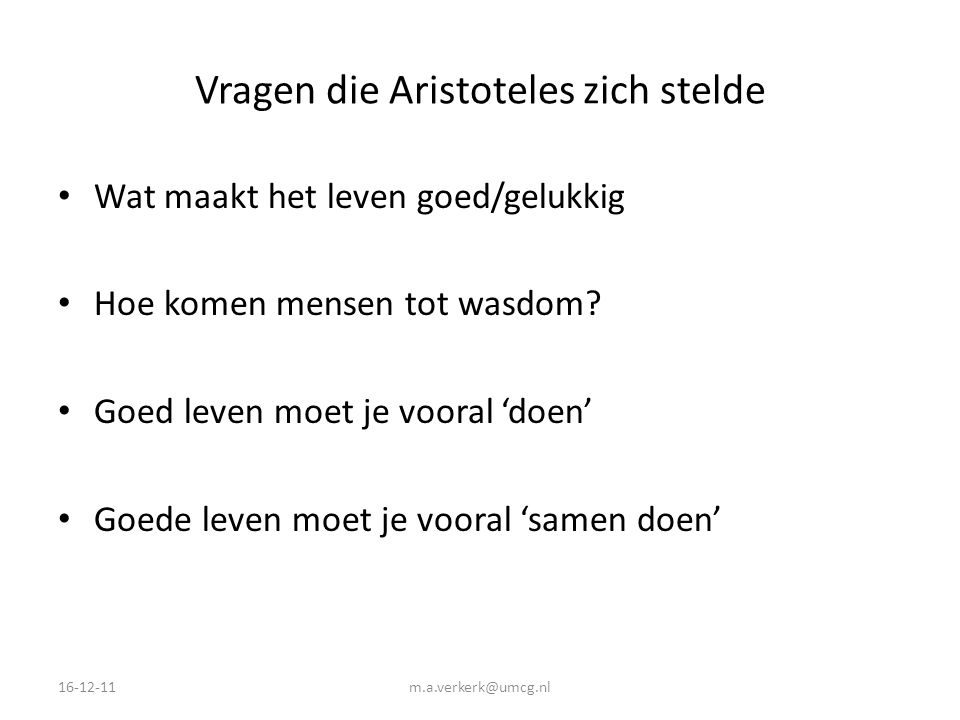 Vragen die Aristoteles zich stelde