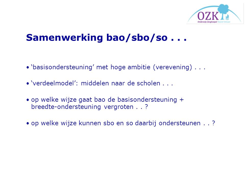Samenwerking bao/sbo/so . . .