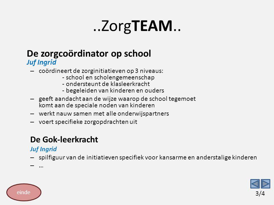 ..ZorgTEAM.. De zorgcoördinator op school Juf Ingrid De Gok-leerkracht