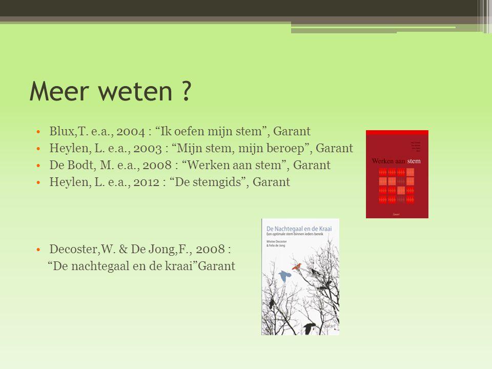 Meer weten Blux,T. e.a., 2004 : Ik oefen mijn stem , Garant