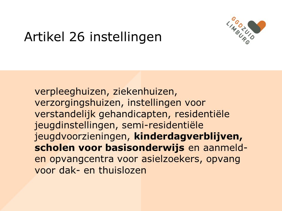 Artikel 26 instellingen